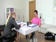 Female agent wanking cock