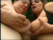 Huge tits fat chick gets had fuck from stud outdoors