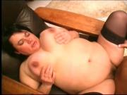 Fat whore fucked hard and put on a diet of cum
