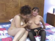 Curvy whore takes a hard strap on inside her tight pussy