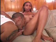 Ebony gets mouthful of cock after giving BJ and getting her fat cunt banged