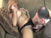 Hot babe gets on guys stiff cock while sitting on couch