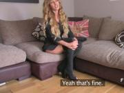 Busty blonde in boots gags in casting