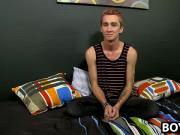Hung skinny Jayboy twink tugging on his dick on the couch