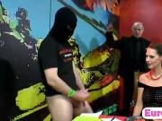2 European babes play kinky games with a bunch of nasty men