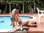 Latin twink bareback fucks pool boy and gives him his jizz