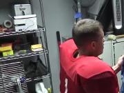 Football captain Darin Silvers fucks school janitor Colby
