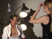 Asian man gets off on being restrained by dominatrix for belt choking fun