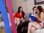 MILF Bianca Breeze threesome sex on sofa