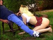 Hardcore blonde slut pussy fucked under the tree