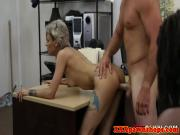 Pawnshop ebony amateur facialized with cuckold