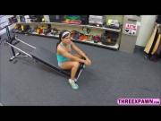 Hot fitness lady spread her legs and gets reamed hard by a huge rock