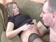 Horny housewife with tattooed stomach gets fucked hard on the couch