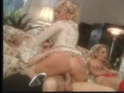 MMMFFF orgy with three gorgeous white sluts wearing hot lingerie