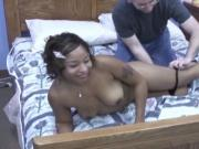 Big dick white guy gets a sloppy and wet bj before drilled this horny ebony