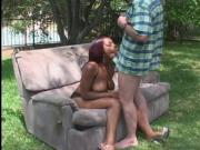 Hot ebony bitch with a great ass gets her shaved pussy filled with a white cock