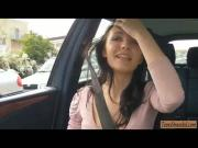 Amateur teen hitchhiker Belle Claire railed in public