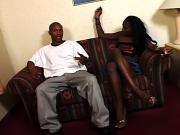 Black hooker gets her cunt slammed on couch