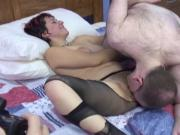 Punk chick plays with her fat cunt and gets fucked by math teacher on bed