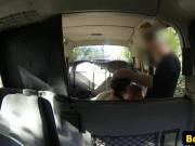 Brit babes threeway fucking in back of taxi