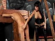 Lusty tranny raven orders her sub to lick her dick clean