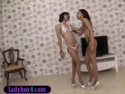 Tight ladyboy teens jerk off a very lucky white guy