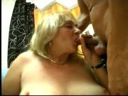 Horny Granny fucks two young studs at once