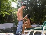Perfect teen asian loves to bend over for big dick fuck from behind by pool