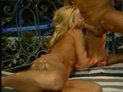 Sexy blonde with amazing tits bounces on a long hard cock