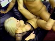 Blonde in fishnets held down and fucked on carpet