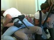 Four gay studs ride cock and give blowjobs on couch during gay orgy