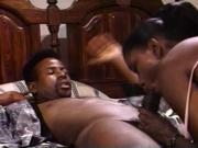 Hardcore ebony stud fucking a sexy black chick and busting cumload on her jugs