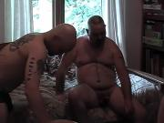 Horny guy blows 2 guys and get his ass banged hard