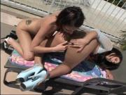Lucky dude catches two hot lesbians fucking outdoors and joins in the fun