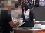 Busty pawnshop Milf dicksucking for cash POV