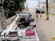 Two tight babes suck off and banged by tow truck driver