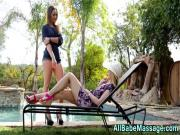 Hot blonde masseuse eats