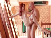 Gorgeous redhead Amarna Miller gets fucked hard on the top of pooltable