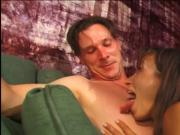 Sexy perky tit brunette sucks and rides lucky older man's thick cock