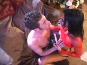 Two brunettes share big cock in living room