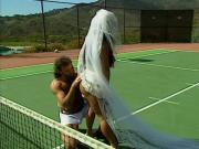 Stunning young big tit bride is licked by tennis coach and fucked hard