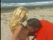 Hot blonde sucks off hung stud on the beach then gets drilled
