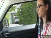 Teen Tali masturbates in a car