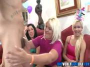 Cfnm babes blow stripper