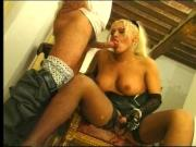 Tranny bent over and fucked hard in the ass