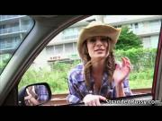 Pretty cowgirl Dillion rides a big cock in the backseat