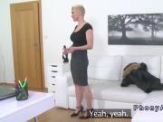 Busty tattooed blonde bangs in casting
