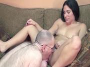 Hairy gig eats pussy and then fucks slutty brunette