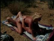 Blonde leaves white panties on during outdoors sex