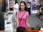 Teen pawnshop amateur strips for cash in store